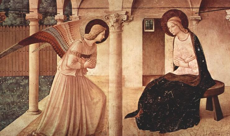 Ni måneder før jul hører vi fortællingen om englen, som fortæller Maria, at hun skal føde Guds søn. Mariæ Bebudelse