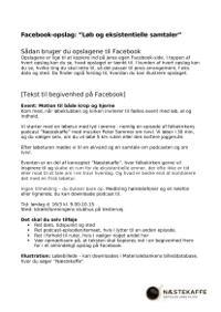 Facebook-opslag løb og eksistentielle samtaler