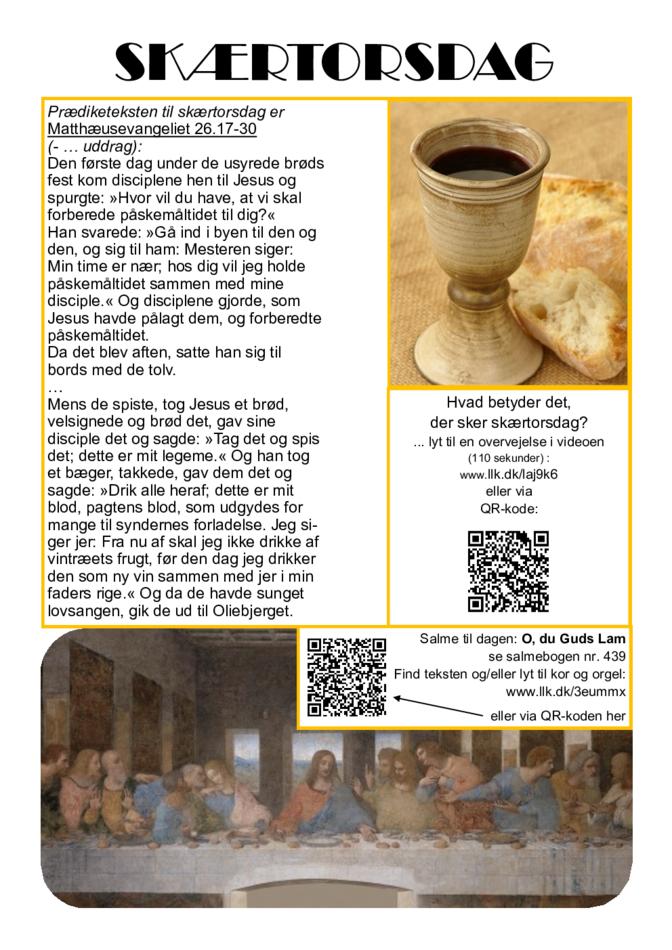 1. tekstrække - Påskevandring - Skærtorsdag