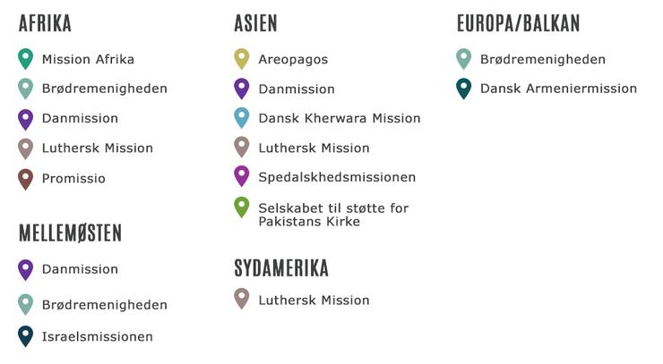 Oversigt - Danske missionsselskabers fokusområder i dag