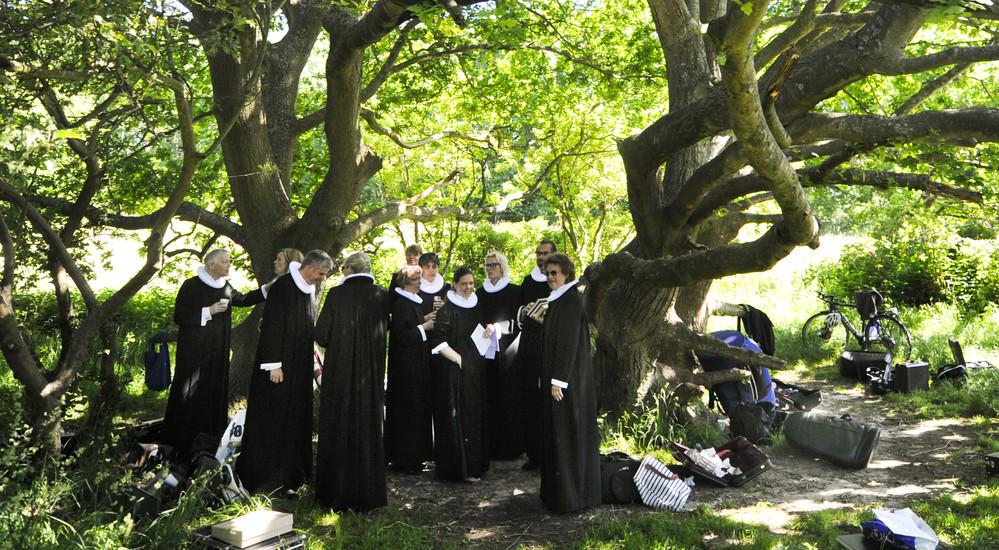 Friluftsgudstjenester fejres ofte af flere kirker med flere præster