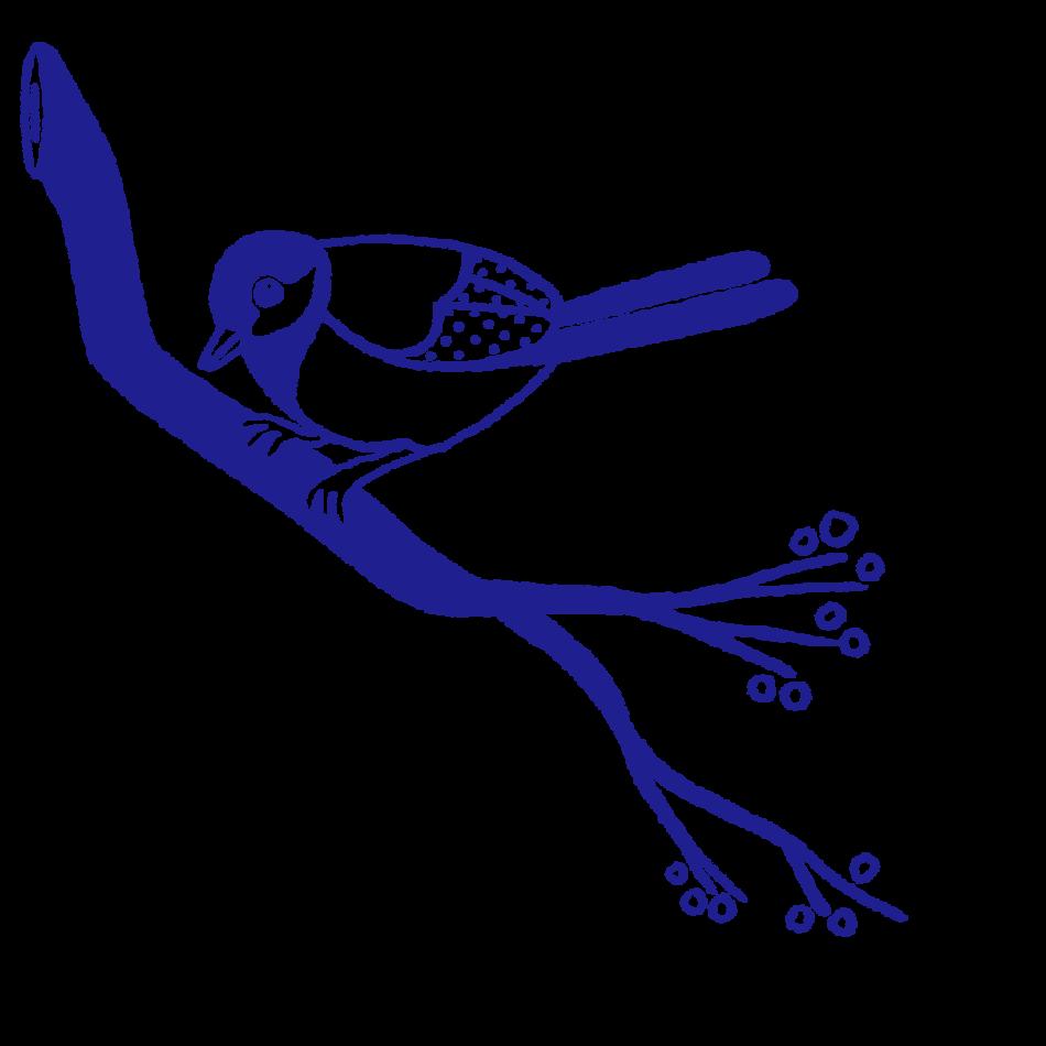Vignet-  fugl på gren