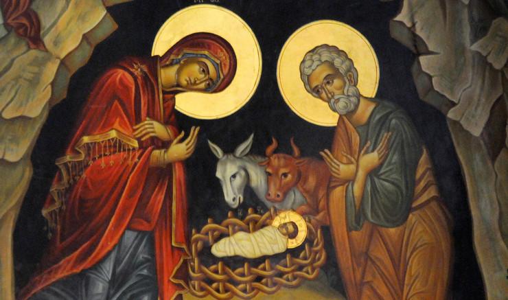 Julen er festen for Jesus' fødsel. Russisk ikon.